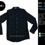C1604 เสื้อลายสก๊อต ผู้ชาย สีดำ แนวสตรีท