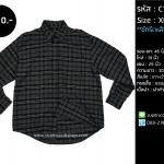 C1061 เสื้อลายสก๊อตผู้ชายสีเทา