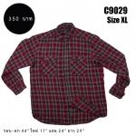 C9029 เสื้อลายสก๊อตผู้ชายสีแดง