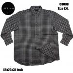 C3030 เสื้อเชิ้ตลายสก๊อตผู้ชายสีเทา ไซด์ใหญ่