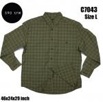 C7043 เสื้อเชิ้ตลายสก๊อตสีเขียว