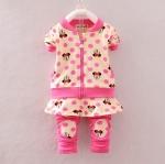 Pre-order ชุดเสื้อ+กางเกง / แพ็คละ 4 ตัว / Size 80-105 /สีชมพู(สินค้าลายลิขสิทธิ์)