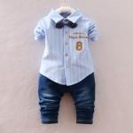 Pre-order ชุดเสื้อ+กางเกง / แพ็คละ 4 ตัว / Size 80-105 /สีฟ้า