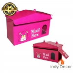 ตู้จดหมาย ตู้รับจดหมาย กล่องใส่จดหมาย ทรงบ้าน ลายหมี (สีชมพู)