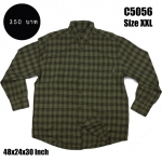 C5056 เสื้อเชิ้ตลายสก๊อต ผู้ชาย สีเขียว ไซส์ใหญ่