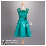 sd1060 ชุดไปงานแต่งงาน สีเขียว เดรสลูกไม้แขนกุด ซีทรู กระโปรงทรงปล่อย สวยหวานหรู น่ารักสุดๆ