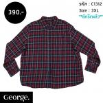 C1312 เสื้อลายสก๊อตผู้ชาย สีแดง George ไซส์ใหญ่