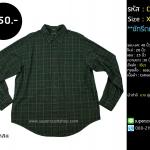 C2260 เสื้อเชิ้ตลายสก๊อตสีเขียว เสื้อลายตาราง