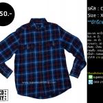 C2209 เสื้อลายสก๊อต ผู้ชาย สีน้ำเงิน