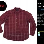 C2195 เสื้อเชิ้ตลายสก๊อต ผู้ชาย สีแดง