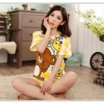 ชุดนอนแขนสั้นน่ารัก ลายหมีริลัคคุมะ สีเหลือง