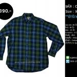 C2219 เสื้อลายสก๊อต ผู้ชาย สีน้ำเงิน เขียว