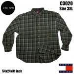 C3020 เสื้อลายสก๊อตผู้ชายสีเขียว TOMMY ไซด์ใหญ่
