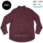 C1351 เสื้อลายสก๊อตผู้ชาย สีน้ำตาล แดง
