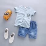ชุดเด็ก เสื้อสีฟ้ากางเกงสียีนส์ ยกแพ็ค 4 ชุด (ราคา 185 บาท/ชุด) ขนาด 90-120