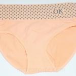 กางเกงในหญิง กางเกงในเอวสูง ลายจุด Logo OK สีส้ม