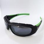 แว่นตาสปอร์ต เลนส์ปรอทสีเงิน กรอบสีเขียวดำ เครือแข็งป้องกันรอยขีดข่วน