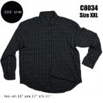 C8034 เสื้อเชิ้ตลายสก๊อต สีดำ ตัวใหญ่