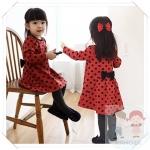 เสื้อเด็กผู้หญิง สีแดงลายจุด ยกแพ็ค 5 ตัว (ราคา 190 บาท/ตัว) ขนาด 100-140