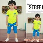 ชุดเด็ก เสื้อสีเขียวกางเกงสีฟ้า ยกแพ็ค 5 ชุด (ราคา 160 บาท/ชุด) ขนาด 100-140
