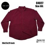 C4027 เสื้อลายสก๊อตผู้ชาย สีแดงดำ ไซส์ใหญ่ ยี่ห้อ Arrow
