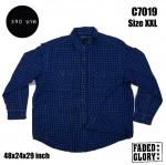 C7019 เสื้อลายสก๊อตผู้ชาย สีน้ำเงิน