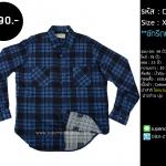 C1787 เสื้อลายสก๊อต ผู้ชาย สีน้ำเงินดำ ไซส์ใหญ่