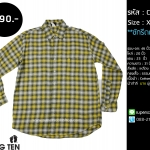 C2091 เสื้อลายสก๊อต ผู้ชายสีเหลือง Hang ten