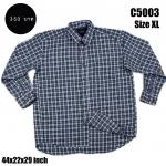 C5003 เสื้อเชิ้ตลายสก๊อต ผู้ชาย ผ้าบาง