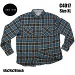 C4017 เสื้อลายสก๊อตผู้ชายสีฟ้า