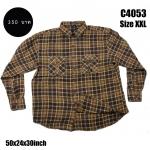 C4053 เสื้อลายสก๊อตสีน้ำตาล ไซส์ใหญ่