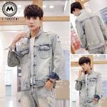 เสื้อแจ็คเก็ตยีนส์ฟอกแฟชั่น สีฟ้าอ่อน PR002 (พร้อมส่ง)