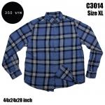 C3014 เสื้อลายสก๊อตสีน้ำเงินฟ้า