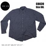 C8039 เสื้อเชิ้ตลายสก๊อตสีเทาเข้ม ไซส์ใหญ่