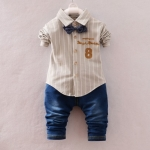 Pre-order ชุดเสื้อ+กางเกง / แพ็คละ 4 ตัว / Size 80-105 /สีกาแฟ