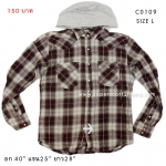 C0109 เสื้อคลุมมีหมวกลายสก๊อต
