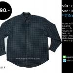 C2011 เสื้อเชิ้ตลายสก๊อต สีเทา ไซส์ใหญ่