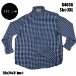 C4086 เสื้อลายสก๊อตผู้ชาย สีน้ำเงิน ไซส์ใหญ่