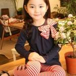 ชุดเด็กผู้หญิง เสื้อสีกรมกับกางเกงลายแดง ยกแพ็ค 5 ชุด (ราคา 180 บาท/ชุด) ขนาด 100-140