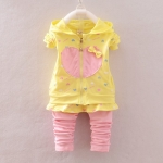 Pre-order ชุดเสื้อ+กางเกง / แพ็คละ 4 ตัว / Size 80-105 /สีเหลือง