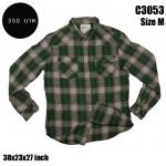 C3053 เสื้อลายสก๊อตผู้ชายสีเขียว กระดุมมุก
