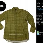 C2063 เสื้อลายสก๊อต ผ้าลูกฟูก สีเขียว