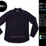 C1801 เสื้อลายสก๊อต ผู้ชายสีม่วงดำ แนว Street