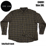 C4091 เสื้อเชิ้ตลายสก๊อต สีน้ำตาล ไซส์ใหญ่