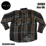 C4103 เสื้อลายสก๊อตผู้ชาย สีน้ำตาล ไซส์ใหญ่