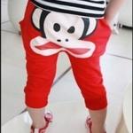 กางเกงสีแดง ลายลิง ยกแพ็ค 4 ตัว (ราคา 125 บาท/ตัว) ขนาด 100-130