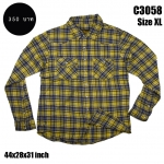 C3058 เสื้อลายสก๊อตผู้ชายสีเหลือง ไซด์ใหญ่