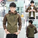เสื้อแจ๊คเก็ตฮู๊ด J027 สีเขียว (สินค้าไต้หวันนำเข้า-พร้อมส่ง)