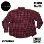 C6048 เสื้อเชิ้ต ลายสก๊อตผู้ชาย สีแดง ไซส์ใหญ่
