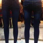 กางเกงยีนส์ สกินนี่ ขาเดฟ ผ้ายีนส์ยืด ผู้หญิง มี 4 สี สีเข้ม
